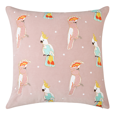 Elizabeth Scarlett Velvet Cockatoo Cushion