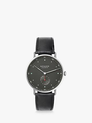 NOMOS Glashütte 1111 Unisex Metro Leather Strap Watch, Black