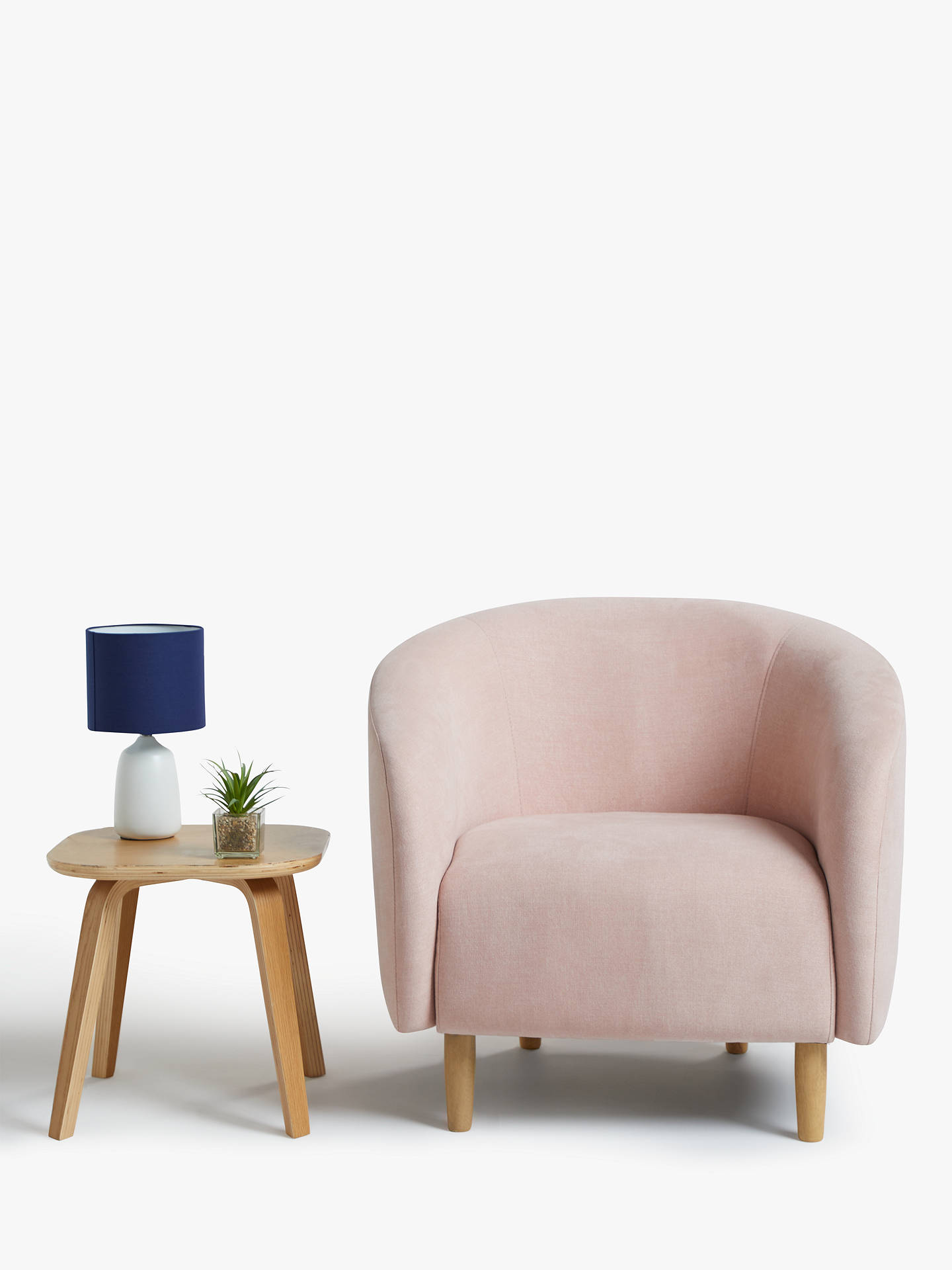 Buy House by John Lewis Scoop Armchair, Light Leg, Hatton Soft Pink Online at johnlewis.com