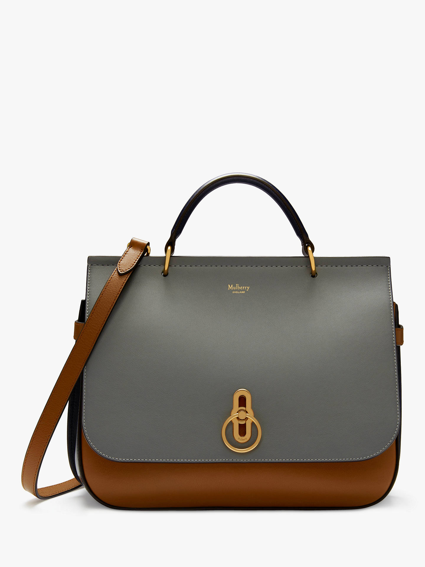 45c611cddb1a ... bag women shoulder bag27cm e3fad 61cfc  low price buymulberry amberley  silk calf large leather satchel smoke grey tobacco brown online at johnlewis