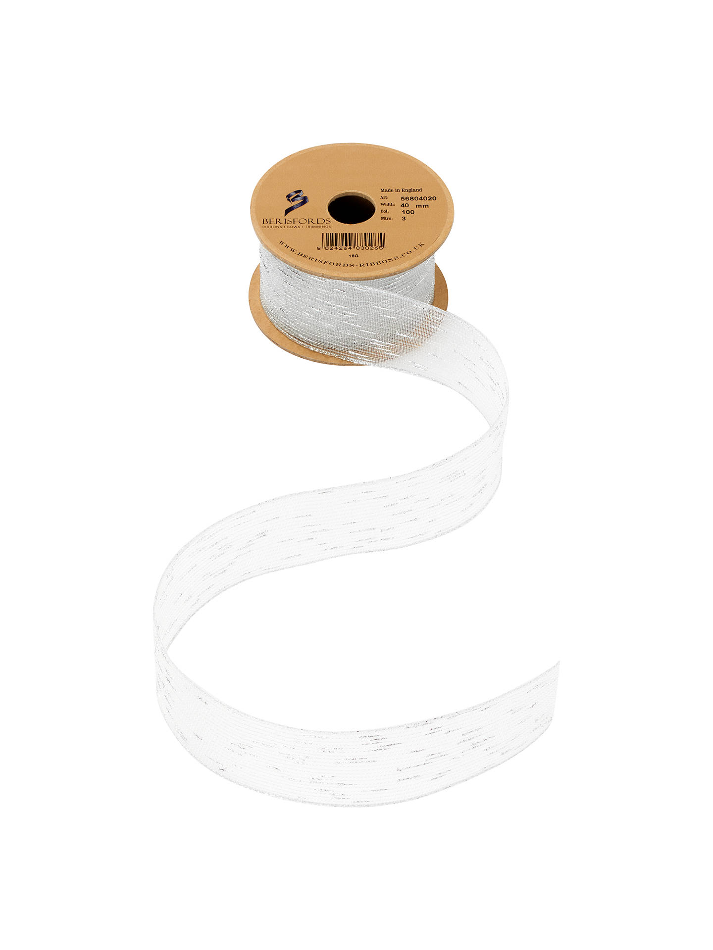 BuyBerisfords Tinsel Line Ribbon, 3m, Silver Online at johnlewis.com