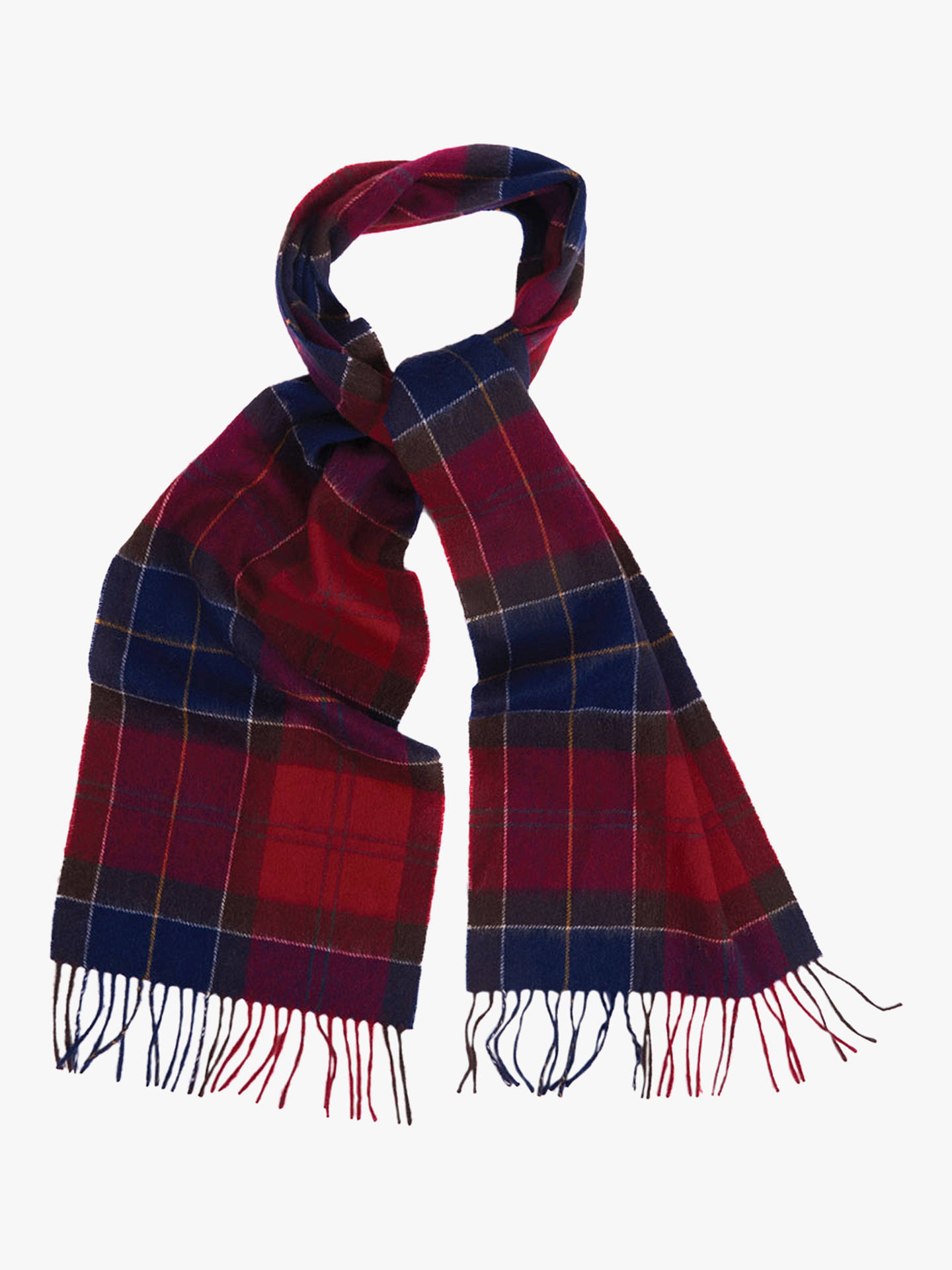 Buy Barbour Holden Tartan Lambswool Cashmere Scarf, Red Online at johnlewis.com