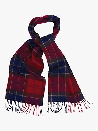 Barbour Holden Tartan Lambswool Cashmere Scarf, Red