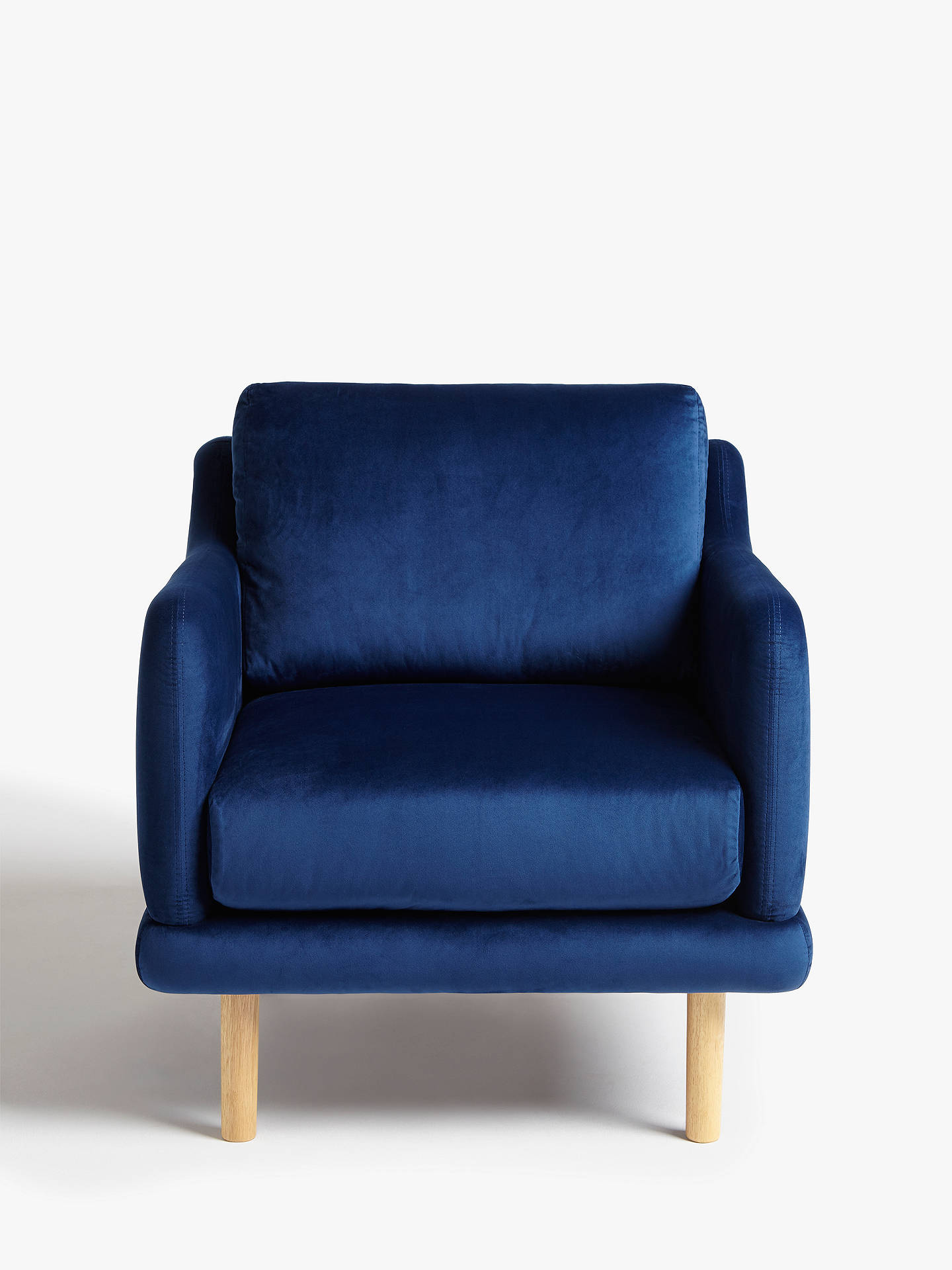 Buy House by John Lewis Sweep Velvet Armchair, Light Leg, Opulence Royal Blue Online at johnlewis.com