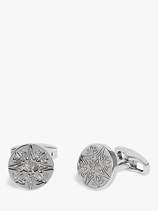 Simon Carter for John Lewis & Partners Archive Embossed Button Cufflinks, Silver