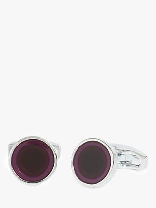 Simon Carter for John Lewis Silver Plated Round Enamel Cufflinks