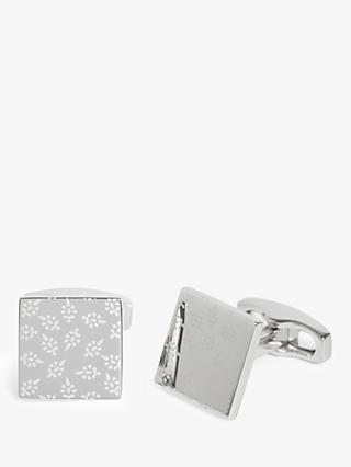 Simon Carter for John Lewis & Partners Archive Laser Engraved Leaf Cufflinks, Silver