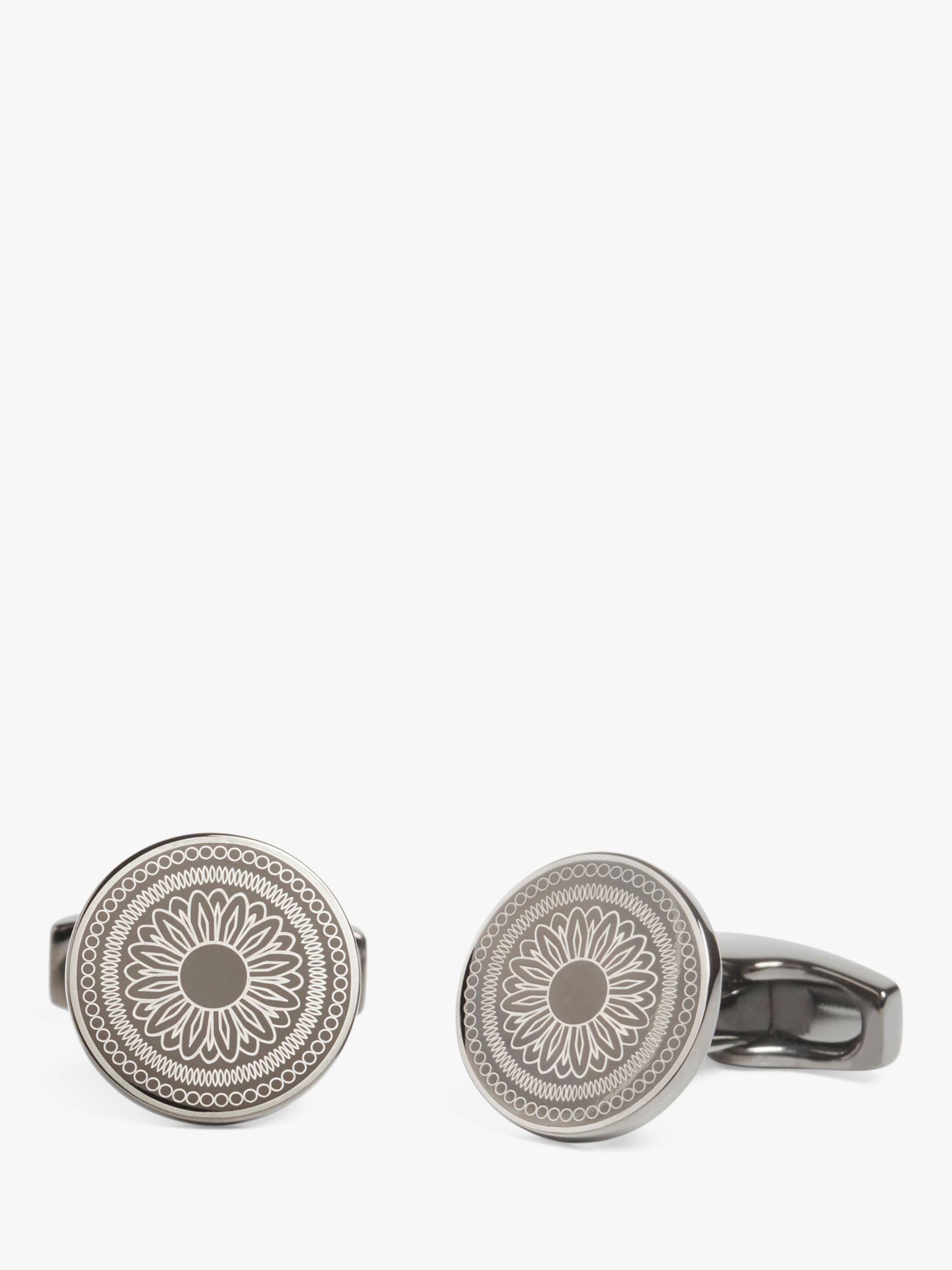 Simon Carter Simon Carter Laser Engraved Button Cufflinks, Gunmetal