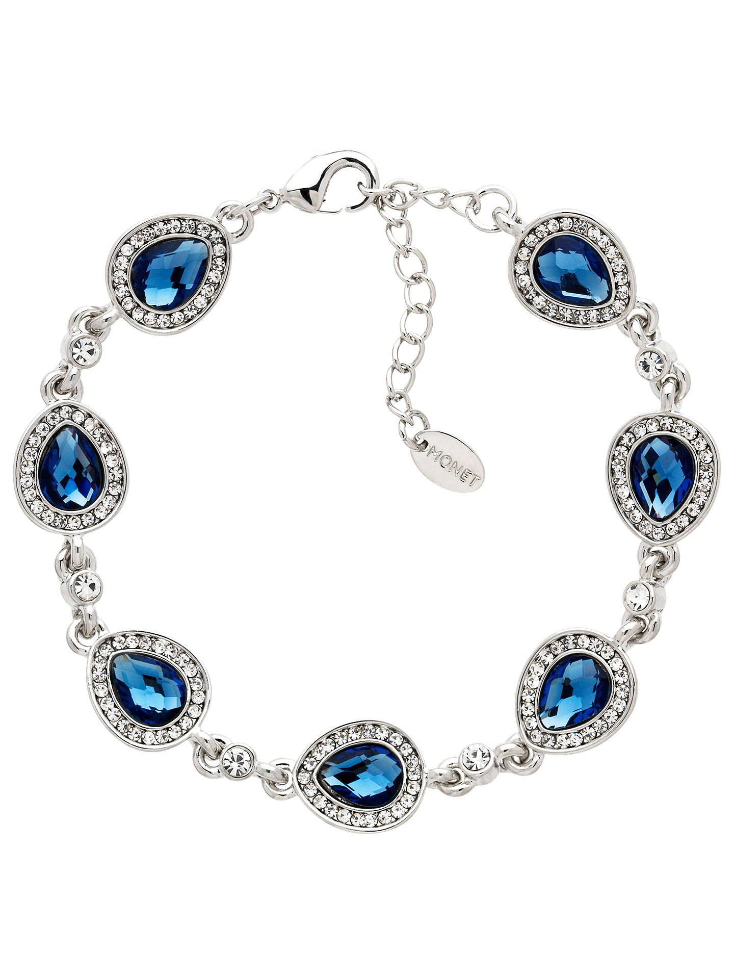 BuyMonet Glass Crystal Teardrop Chain Bracelet, Silver/Blue Online at johnlewis.com