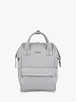 BabaBing! Mani Vegan Leather Changing Backpack, Dove Grey