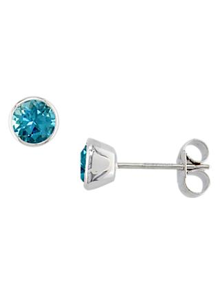 E.W Adams 9ct White Gold Round Stud Earrings, Blue Topaz
