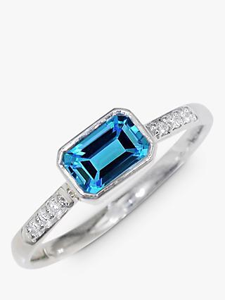 EWA 9ct White Gold Diamond and Topaz Cocktail Ring, Silver/Blue