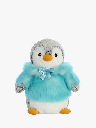 Aurora World Pompom Penguin With Coat Soft Toy, Teal, Small