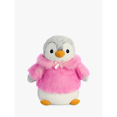 Aurora World Pompom Penguin With Coat Soft Toy, Pink, Large