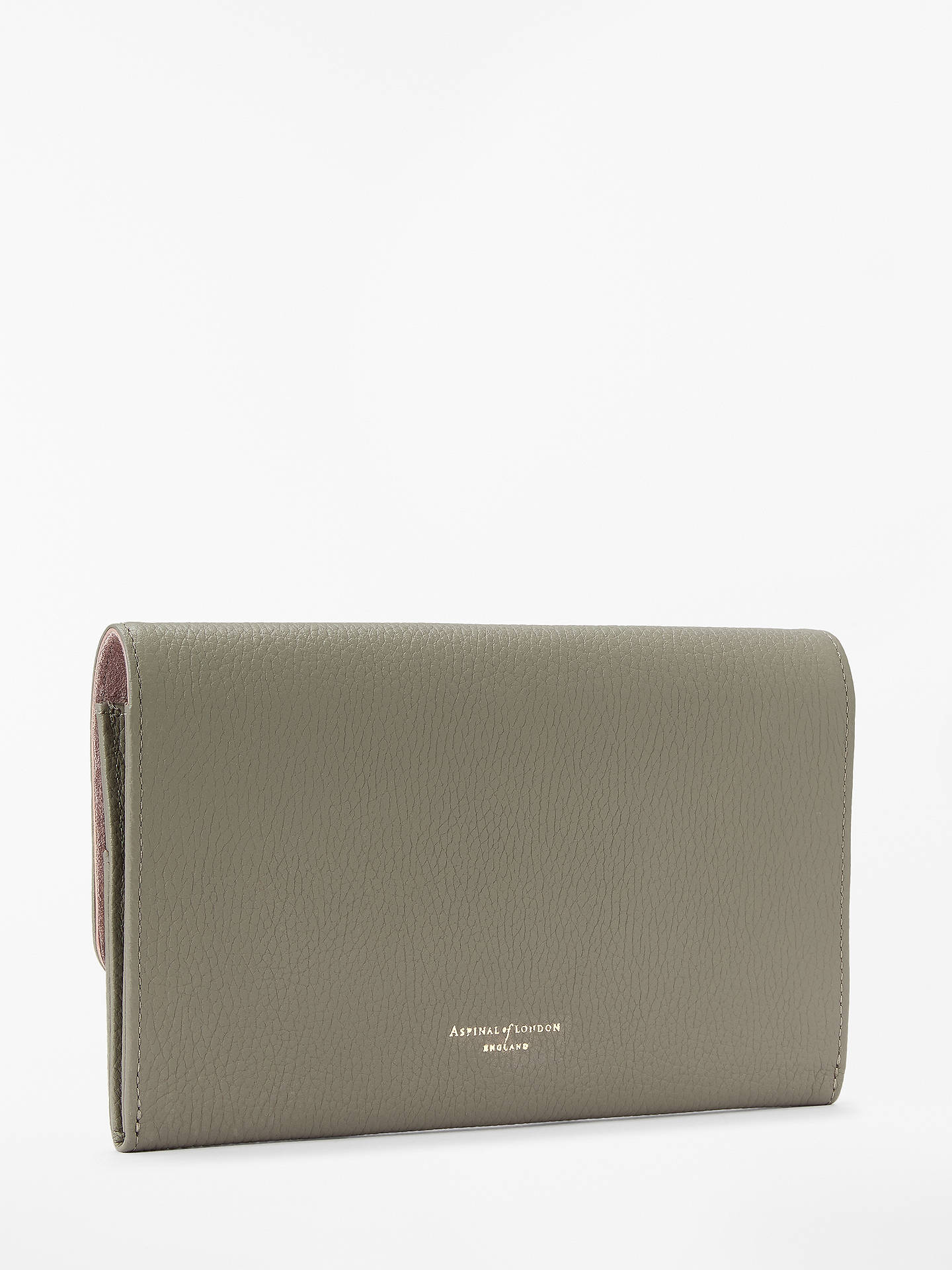 BuyAspinal of London Classic Leather Travel Wallet, Warm Grey Online at johnlewis.com