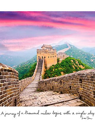 Paper Rose Great Wall of China Card