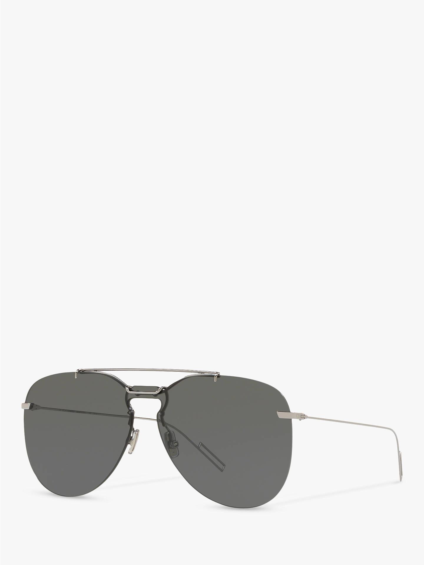 db596da8f485 Buy Dior Dior0222S Men's Aviator Sunglasses, Silver/Grey Online at johnlewis.  ...
