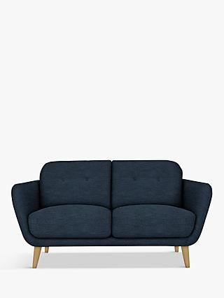 House by John Lewis Arlo Small 2 Seater Sofa, Light Leg, Erin Midnight