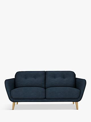 House by John Lewis Arlo Medium 2 Seater Sofa, Light Leg, Erin Midnight