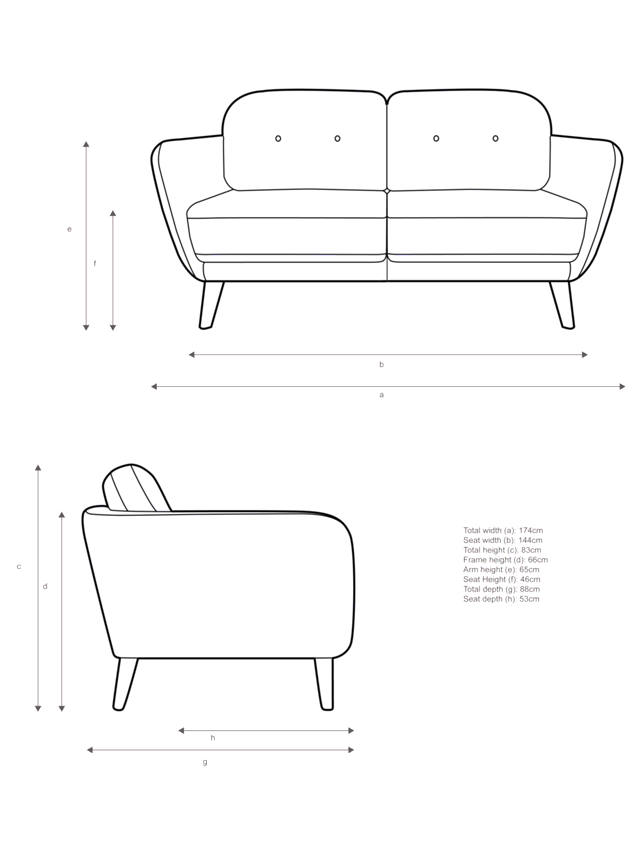Partners Arlo Um 2 Seater Sofa, What Is The Average Size Of A 2 Seater Sofa