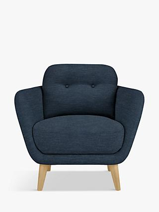 House by John Lewis Arlo Armchair, Light Leg, Erin Midnight