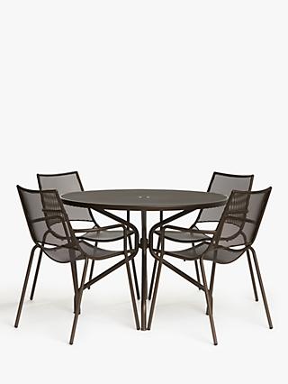 Ala Mesh 4-Seat Garden Dining Table and Chairs Set, Bronze