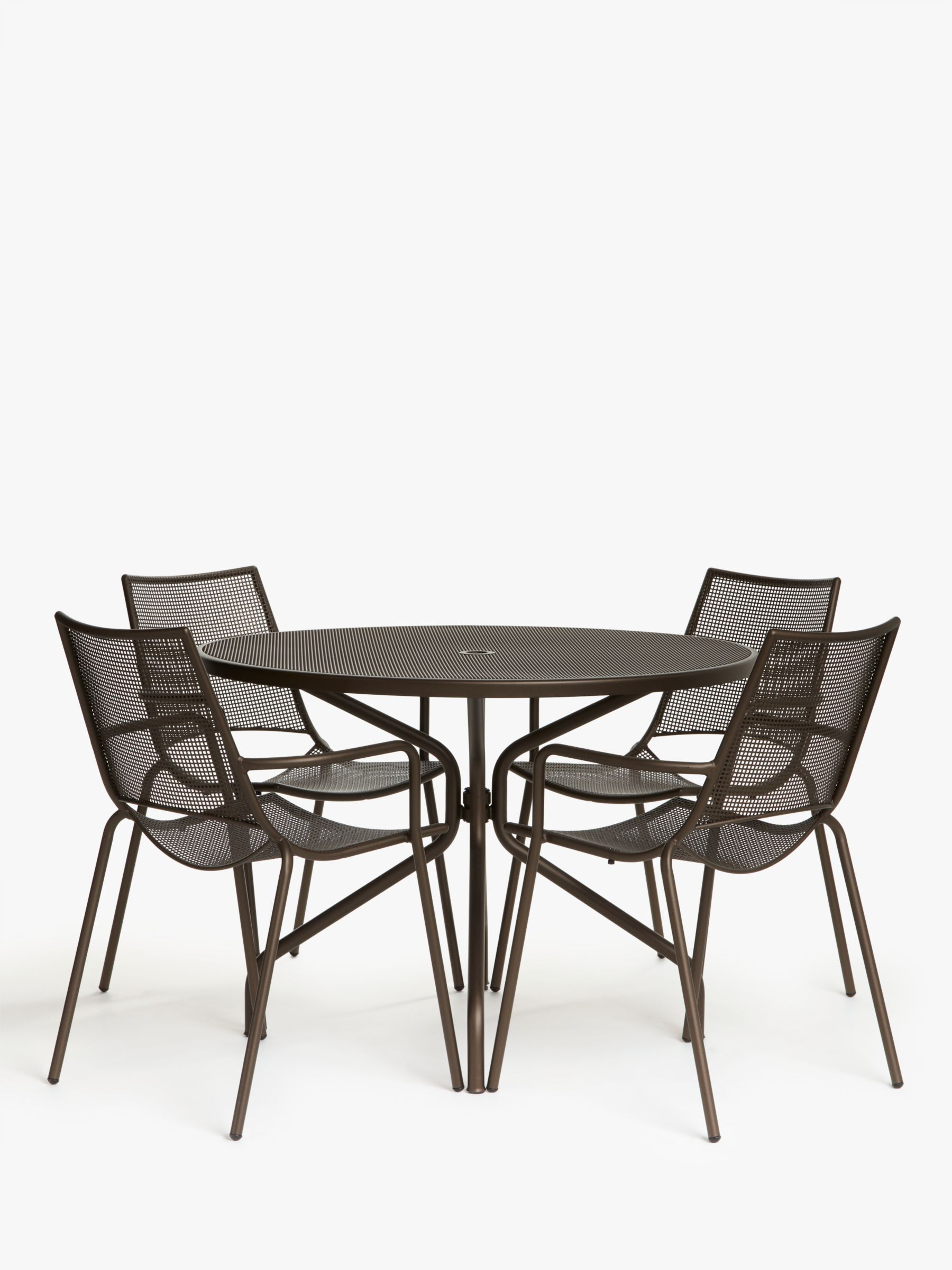 EMU Ala Mesh 4-Seat Garden Dining Table and Chairs Set, Bronze