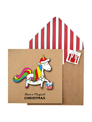 Buy Tache Crafts Christmas Unicorn Christmas Card Online at johnlewis.com