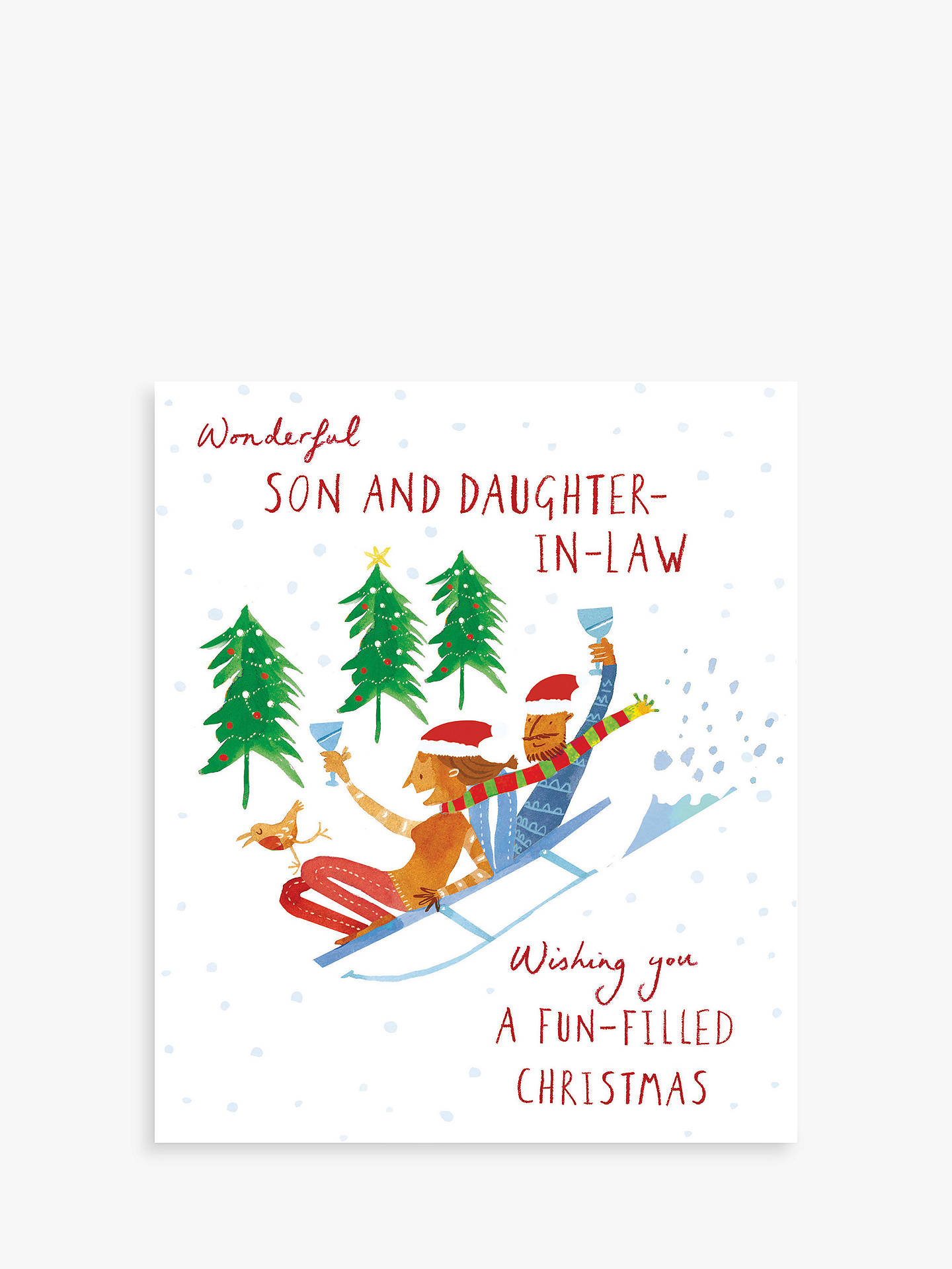 Woodmansterne Son & Daughter in Law Sledge Ride Christmas Card at ...