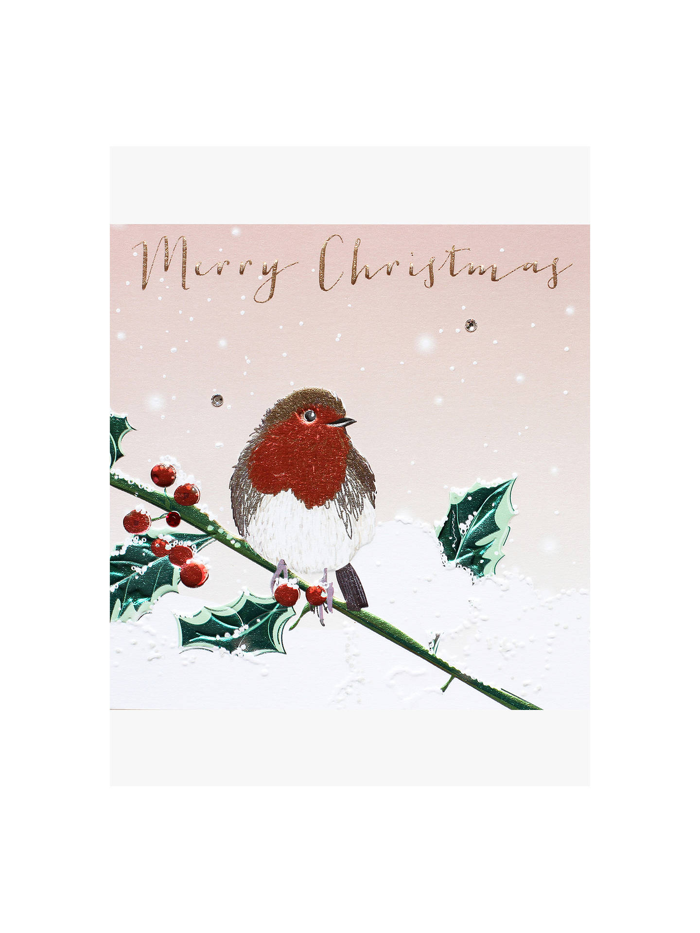 BuyBelly Button Designs Robin on Branch Christmas Card Online at johnlewis.com