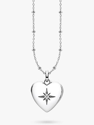 THOMAS SABO Glam & Soul Diamond Heart Locket Pendant Necklace, Silver