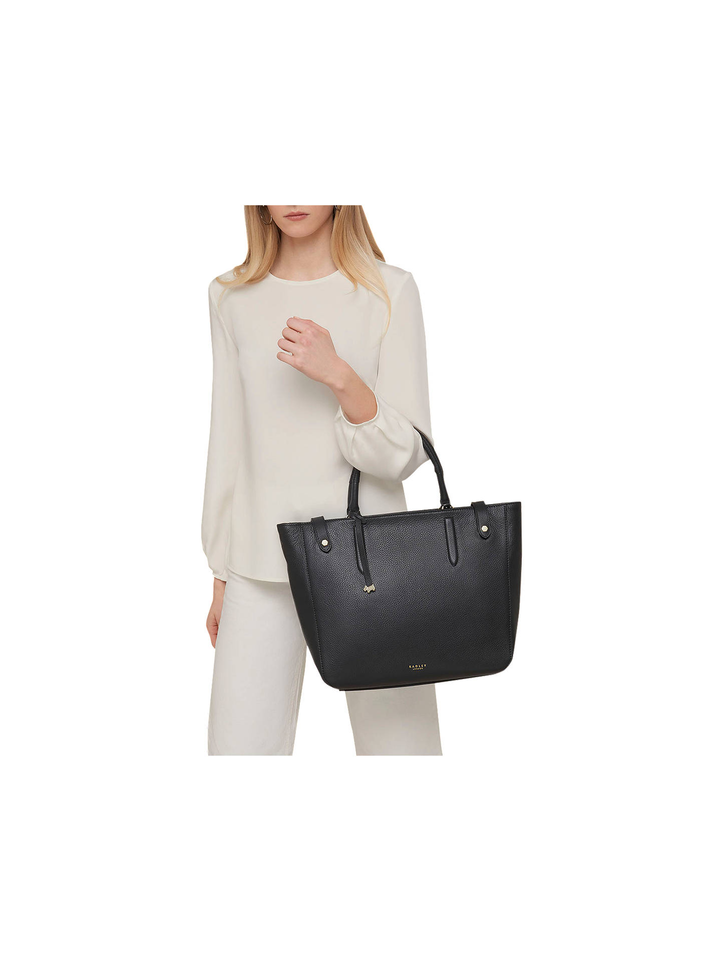 BuyRadley Witley Large Open Top Leather Grab Bag, Black Online at johnlewis.com