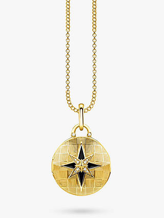Buy THOMAS SABO Glam & Soul Textured Diamond Round Locket Pendant Necklace, Gold Online at johnlewis.com