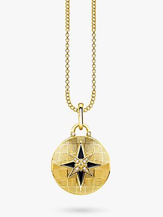 THOMAS SABO Glam & Soul Textured Diamond Round Locket Pendant Necklace, Gold
