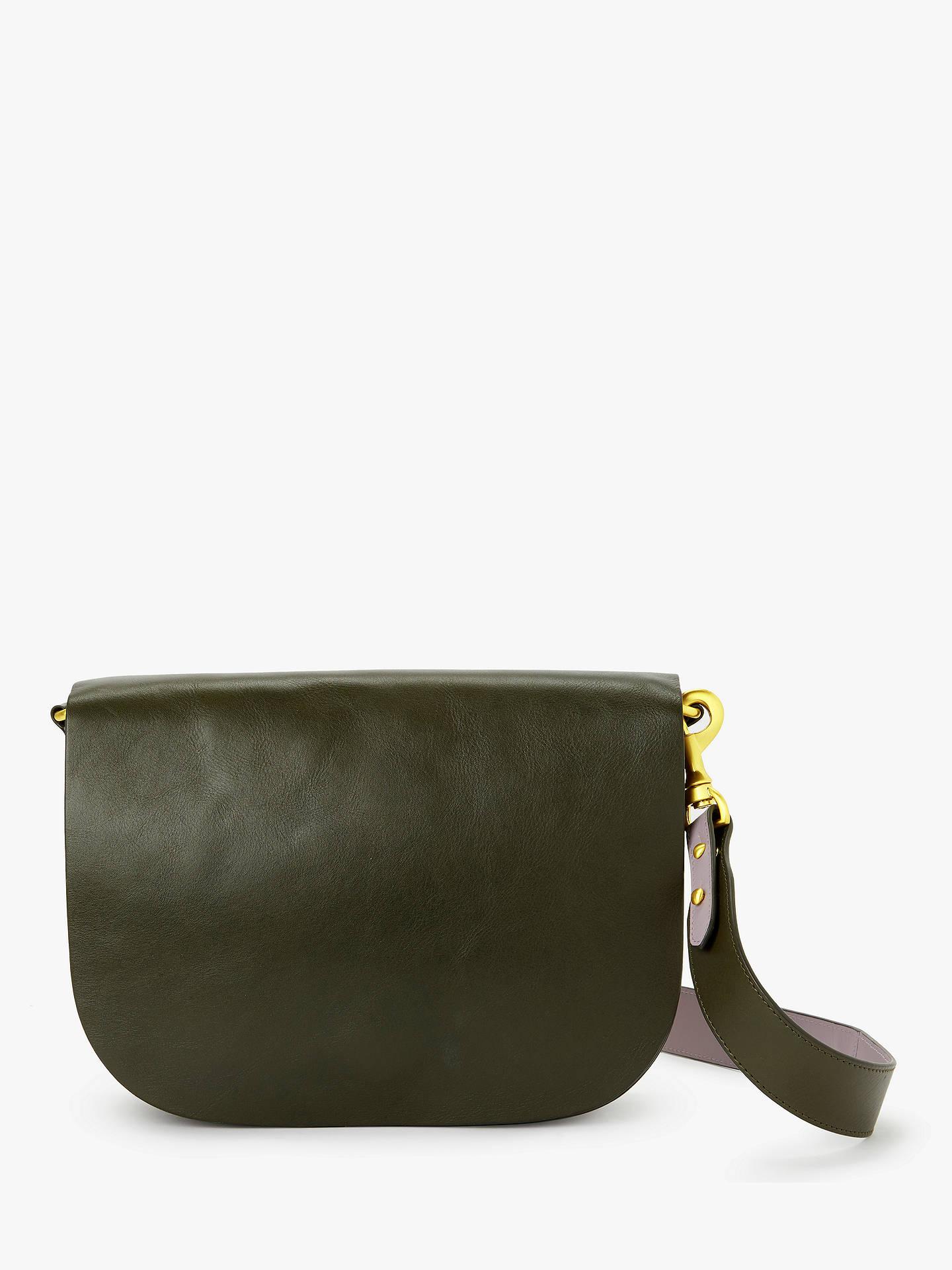 b1ddd14faeb BuyJohn Lewis   Partners Delany Leather Saddle Shoulder Bag, Olive Online  at johnlewis. ...