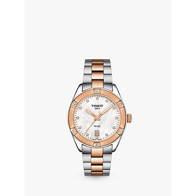 Tissot T1019102211600 Women's PR 100 Sport Chic Diamond Date Bracelet Strap Watch, Rose Gold/Silver