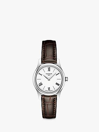 Tissot T0630091601800 Women's Tradition Leather Strap Watch, Brown/White