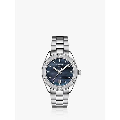 Tissot T1019101112100 Women's T-Classic PR 100 Sport Chic Date Bracelet Strap Watch, Silver/Blue