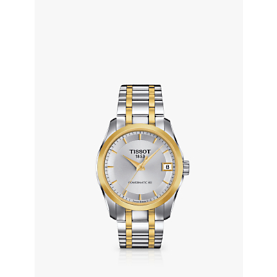 Tissot T0352072203100 Women's Couturier Powermatic Bracelet Strap Watch, Silver/Gold