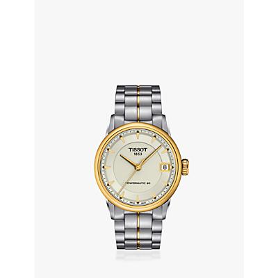 Tissot T0862072226100 Women's Powermatic Automatic Date Two Tone Bracelet Strap Watch, Silver/Gold