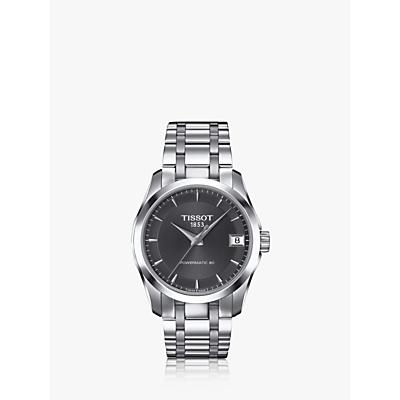 Tissot T0352071106100 Women's Couturier Powermatic Bracelet Strap Watch, Silver/Black