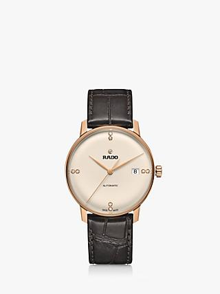 Rado R22861765 Men's Coupole Classic Automatic Diamond Date Leather Strap Watch, Brown/Cream