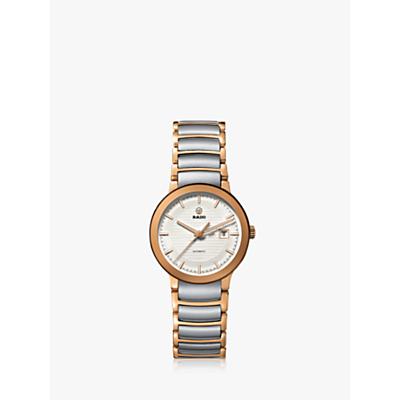 Rado R30954123 Women's Centrix Automatic Stainless Steel Bracelet Strap Watch, Gold/Silver