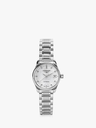 7c85980a52e62 Longines L21284876 Women s Master Collection Automatic Date Diamond  Bracelet Strap Watch
