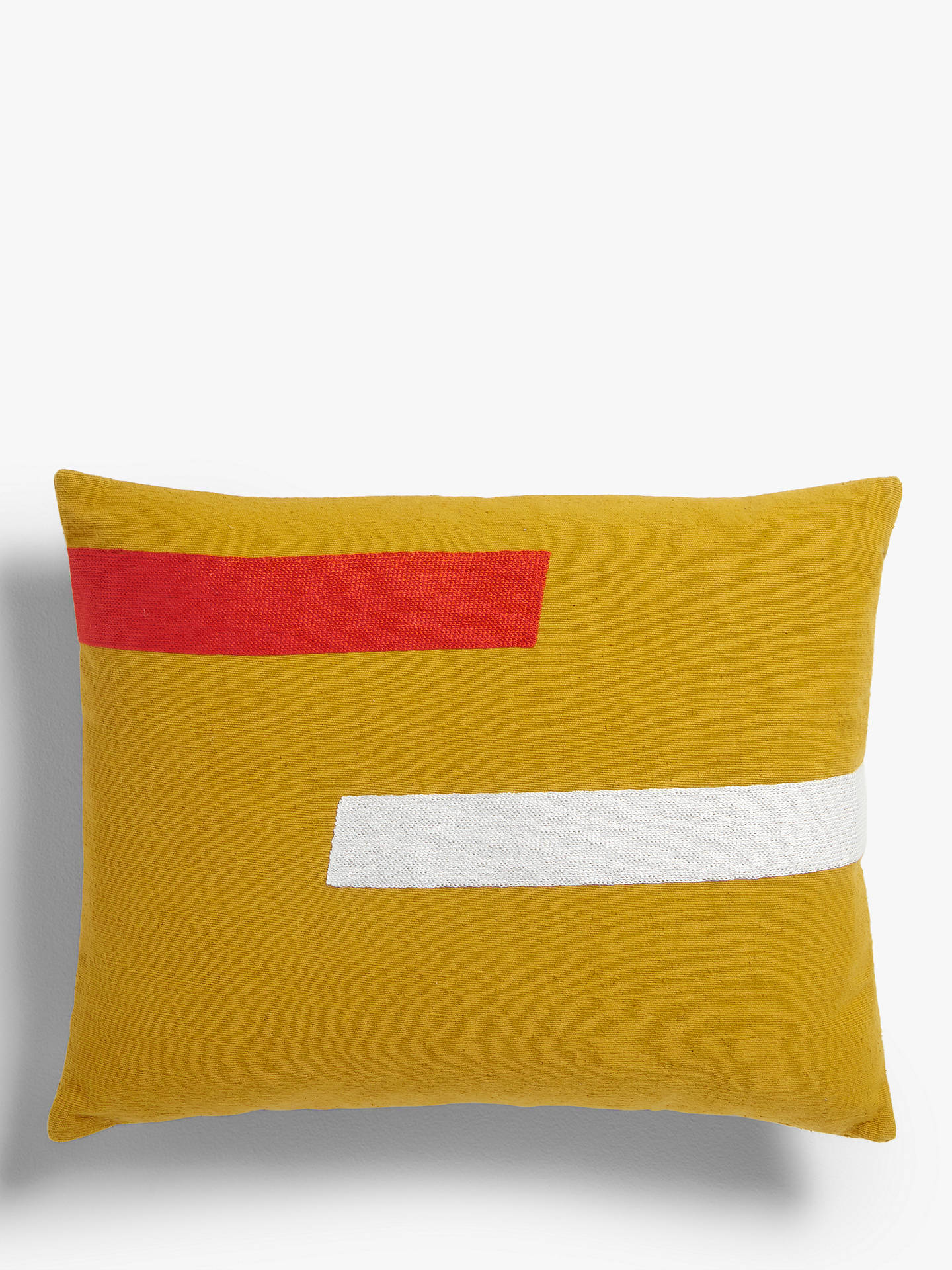 Buy House by John Lewis Two Stripe Cushion, Mustard / Chilli Online at johnlewis.com