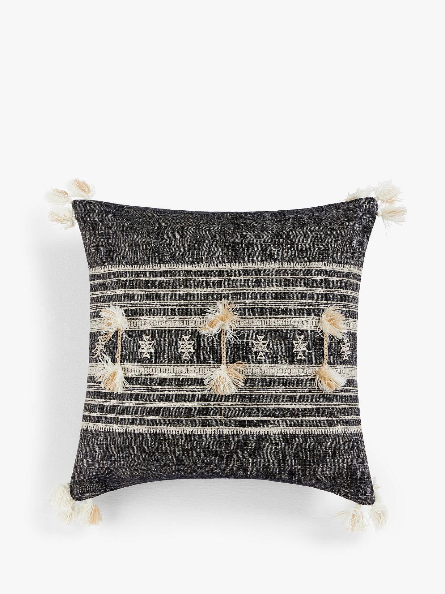 John Lewis & Partners Mora Stripe Cushion, Grey by John Lewis & Partners
