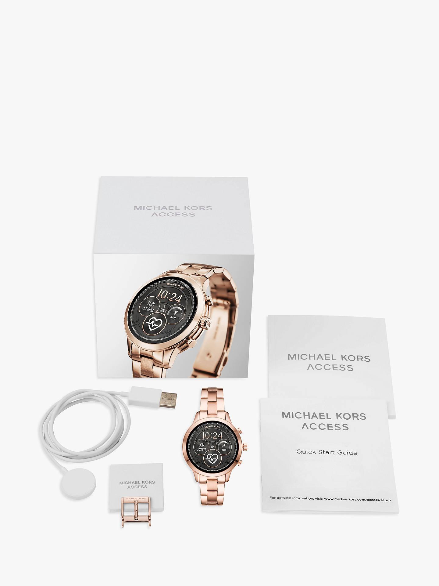85fcc1c43d4 ... Buy Michael Kors Access Women's Runway Bracelet Strap Smartwatch, Rose  Gold/Black MKT5046 Online ...