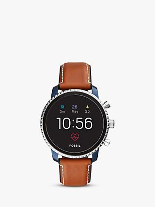 Fossil Q FTW4016 Men's Explorist Leather Strap Touch Screen Smartwatch, Tan/Black