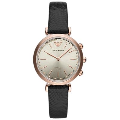 Emporio Armani Connected ART3027 Women's Hybrid Leather Strap Smartwatch, Black/Gold