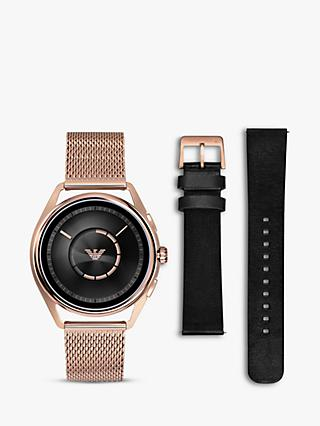 Emporio Armani Connected ART9005 Men's Touch Screen Mesh Bracelet and Leather Strap Smartwatch, Rose Gold/Black